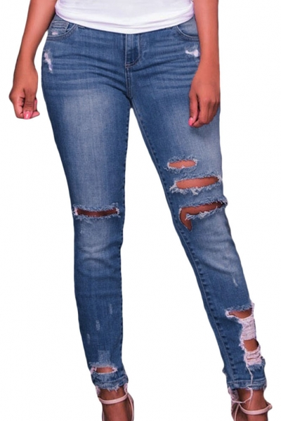 Medium Blue Denim Destroyed Ankle Length Skinny Jeans