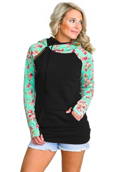 Mint Floral Splice Black Drawstring Hoodie