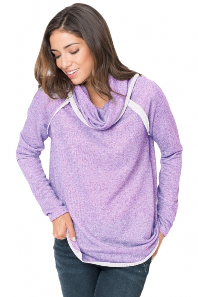 Violet Raw Edge Cowl Neck Pullover Sweatshirt