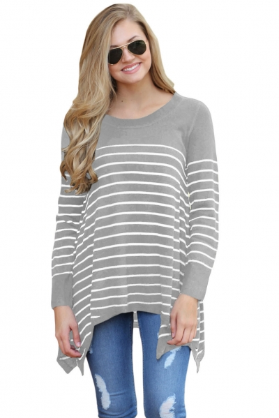 Gray Striped Knit Pullover Sweater Top
