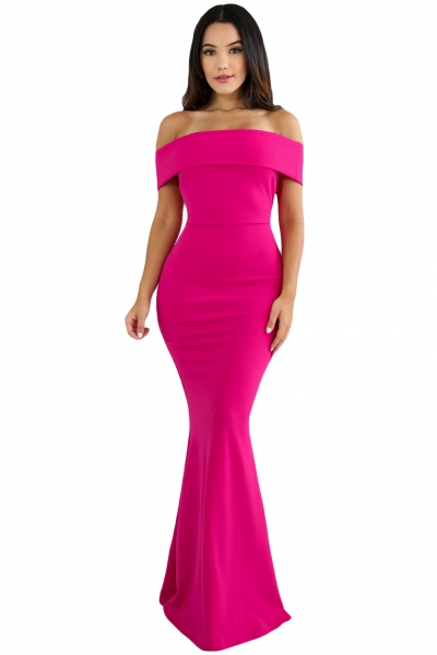 Rosy Foldover Off Shoulder Slinky Long Party Dress