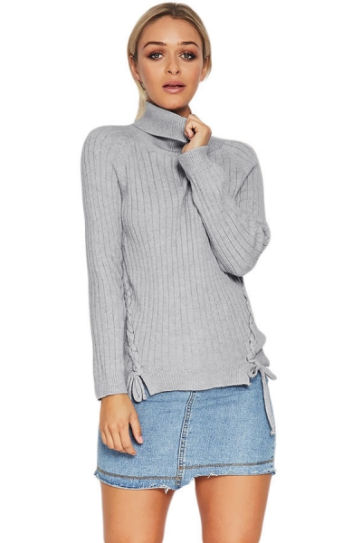 Gray Long Sleeve Turtleneck Braided Sweater ZEKELA.com