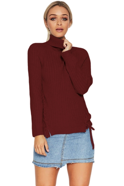 Purplish Red Long Sleeve Turtleneck Braided Sweater