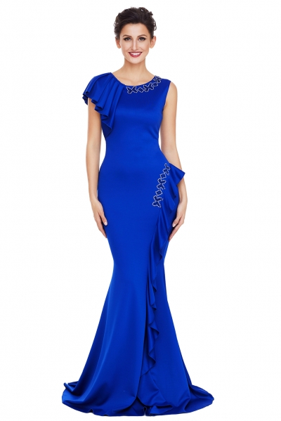 Royal Blue Asymmetric Pleats Detail Elegant Long Party Dress