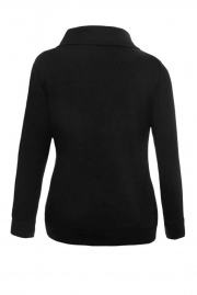 Zip and Piping Trim Black Sweatshirt