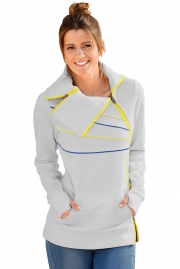 Zip and Piping Trim Grey Sweatshirt
