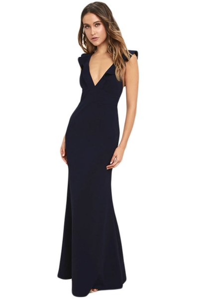 Navy Blue Deep V Neck Ruffle Detail Maxi Party Dress