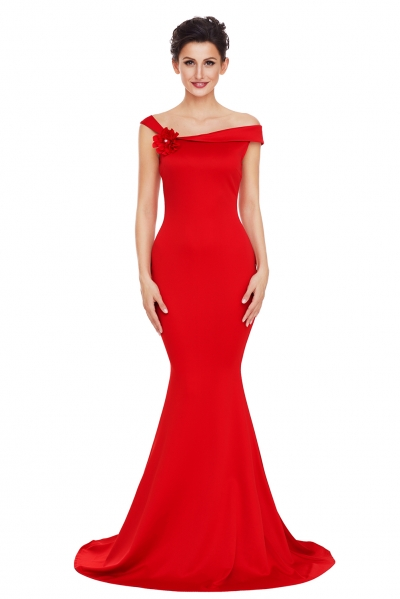 Red Asymmetric Shoulder Design Mermaid Gown