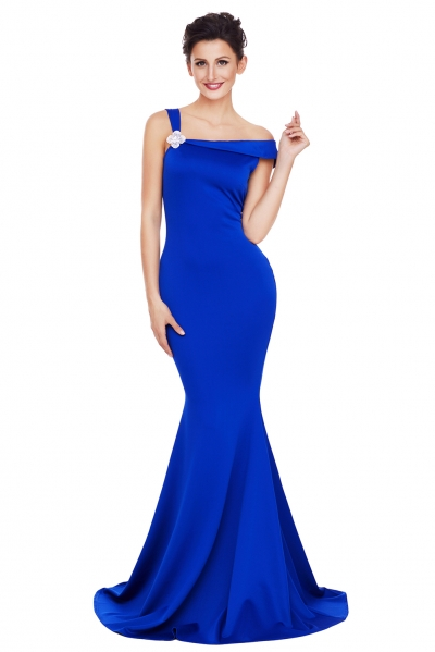 Royal Blue Asymmetric Shoulder Design Mermaid Gown