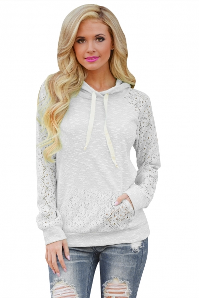 White Lace Accent Kangaroo Pocket Hoodie