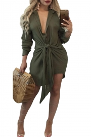 Army Green Knot Tie Accent Button Down Shirtdress