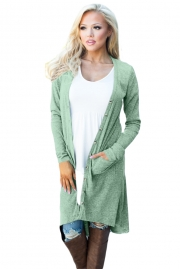Green Ribbed Hi Low Long Cardigan with Pockets