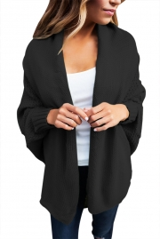 Black Chunky Knit Open Front Dolman Cardigan
