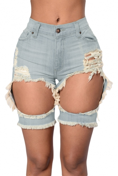 Tint Blue Destroyed Cutoff Bermuda Shorts