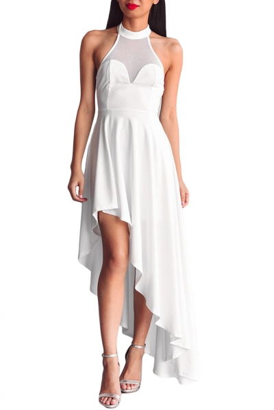 White Sheer Mesh Decolletage Hi-low Party Dress