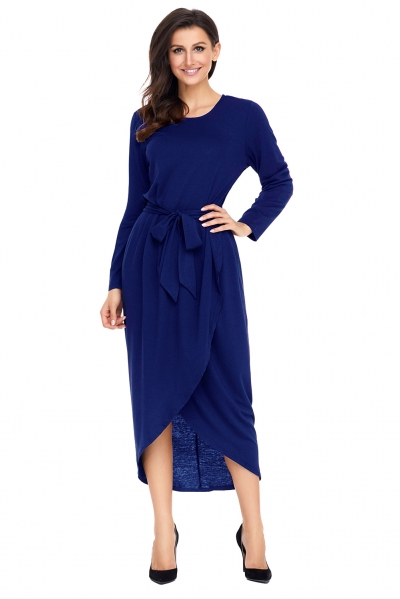 Navy Tulip Faux Wrap Sash Tie Jersey Dress