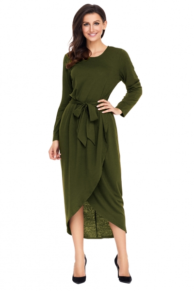 Olive Tulip Faux Wrap Sash Tie Jersey Dress