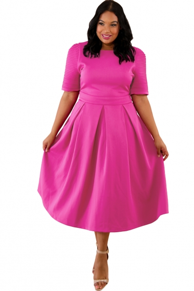 Rosy Plus Size Pleat Flare Dress