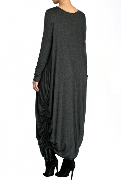 Black Shirring Gathered Side Drape Bubble Jersey Dress