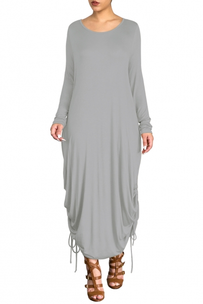 Gray Shirring Gathered Side Drape Bubble Jersey Dress