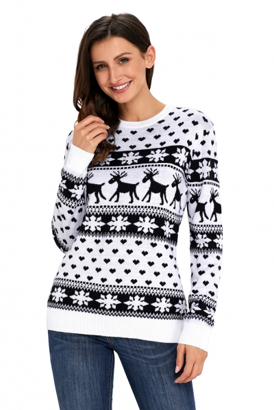 Black Reindeer and Snowflake Knit Christmas Sweater