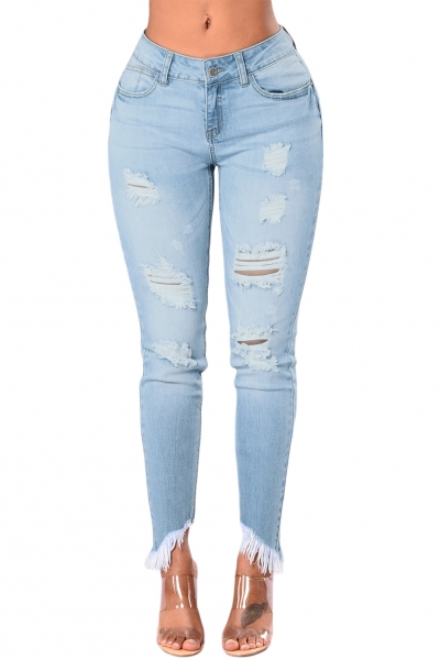 Light Blue Whiskered Destroy Stylish Skinny Jeans