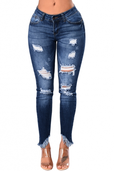 Indigo Blue Whiskered Destroy Stylish Skinny Jeans