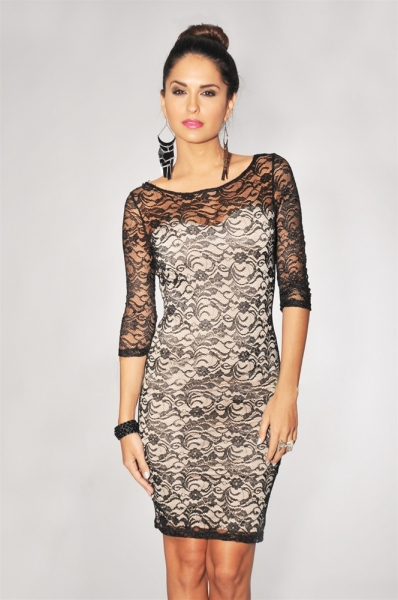 Black Nude Illusion 3/4 Sleeves Lace Bodycon Dress