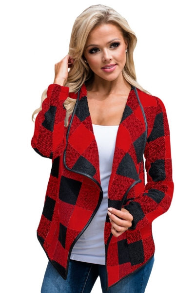 Black Red Plaid Open Front Jacket