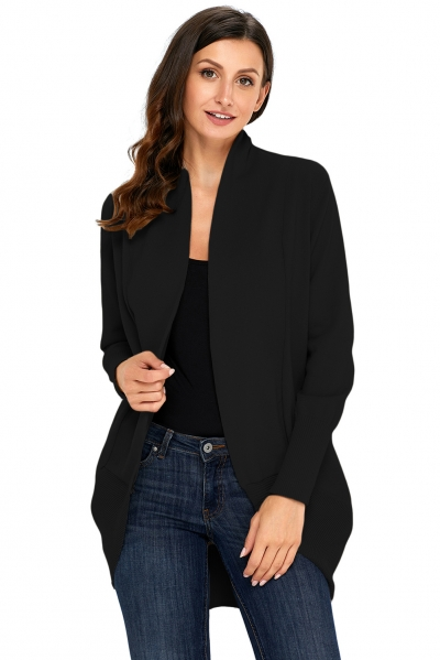 Black Super Soft Long Sleeve Open Cardigan