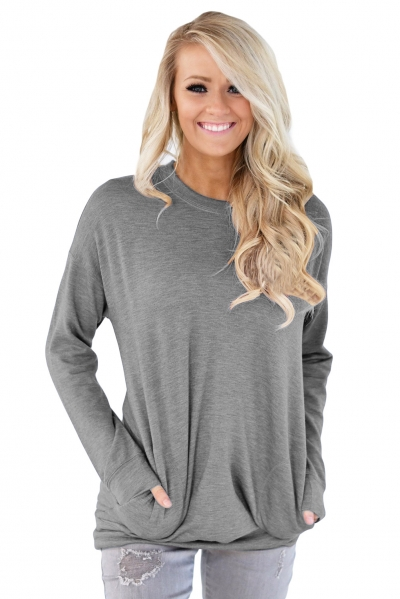 Grey Casual Pocket Style Long Sleeve Top