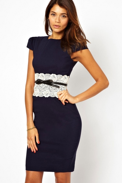 Navy Paper Dolls Lace Waistband Midi Dress with Belt