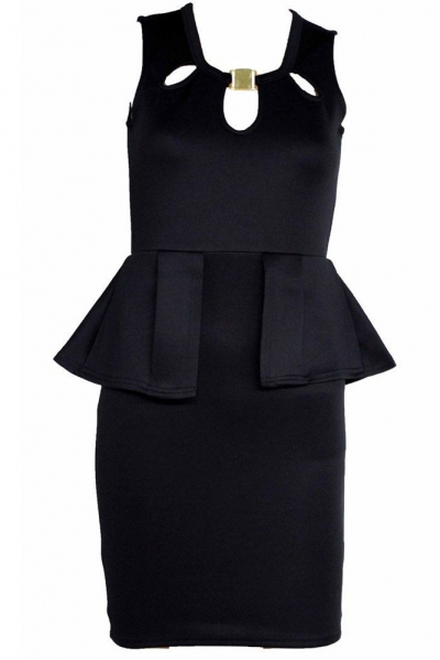 Gold Neck Buckle Frill Bodycon Black Peplum Dress