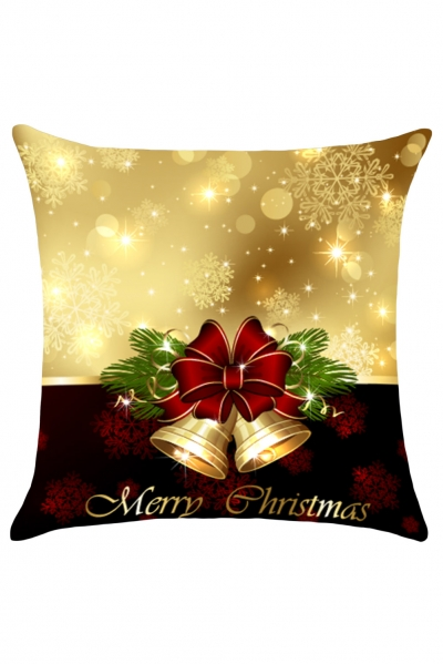 Merry Christmas Gold Bell Throw Pillow Cover