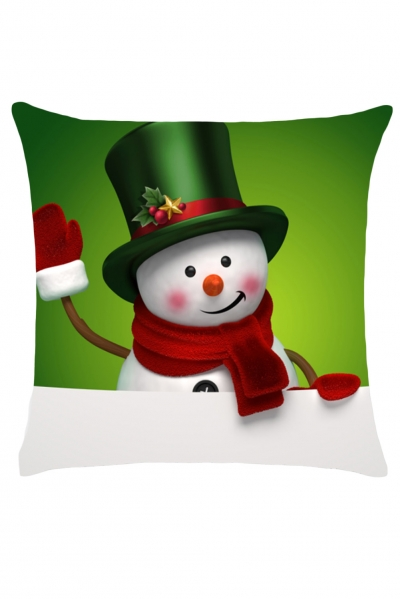 Welcome Christmas Digital Snowman Print Pillowcase