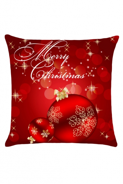 Christmas Holiday Ornaments Red Throw Pillowcase