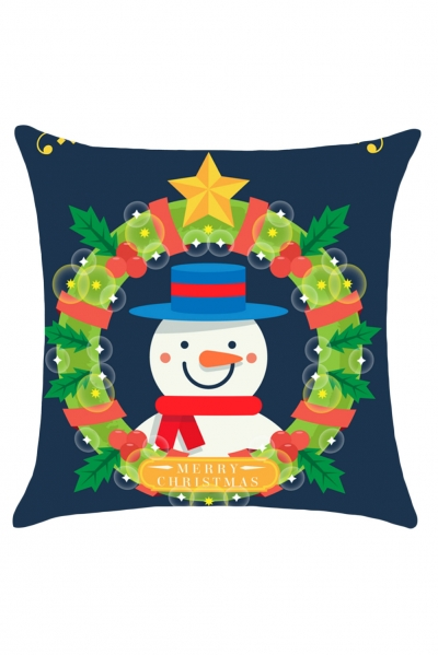 Christmas Garland Snowman Pattern Throw Pillow Case