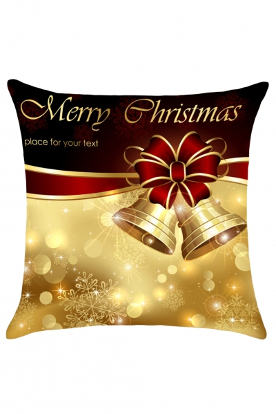 Christmas Bowknot Bells Printed Throw Pillow Case