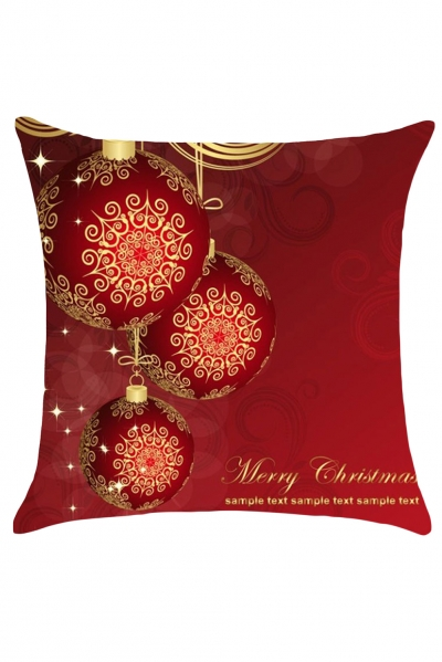 Deep Red Christmas Balls Print Cushion Case