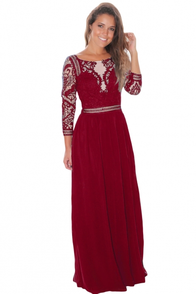 Wine Lace Crochet Quarter Sleeve Maxi Dress