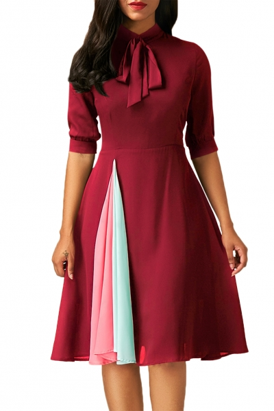 False Slit Splice Burgundy Bow Tie Vintage Dress