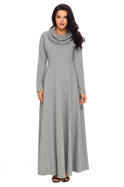 Grey Cow Neck Long Sleeve Maxi Dress