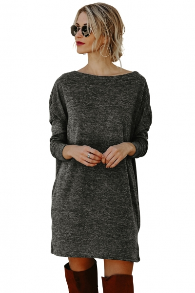 Black Pocketed Loose Fit Dress