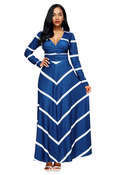 Blue Striped V Neck Long Sleeve Maxi Dress