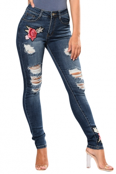 Dark Blue Mid Rise Distressed Rose Embroidery Jeans