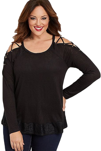Black Lace up Sleeves Plus Size Top