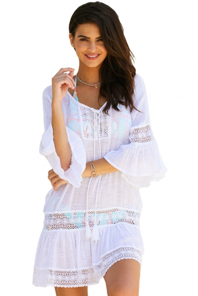 White Loose Beach Kaftan with Crochet Insert
