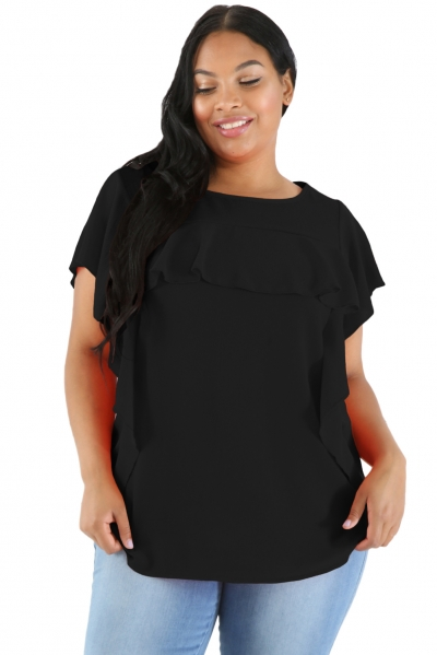 Black Ruffled Detail Flutter Sleeves Plus Size Top