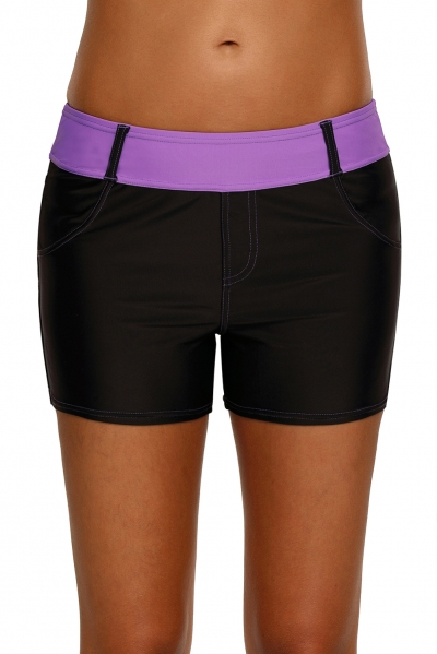 Purple Waistband Faux Denim Sports Shorts