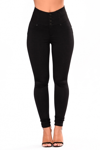 Black Buttoned Empire Waist Patched Leggings